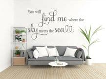 """Wall Quote """"Where The Sky Meets The Sea"""" Lovely Sticker Decal Decor Transfer"""